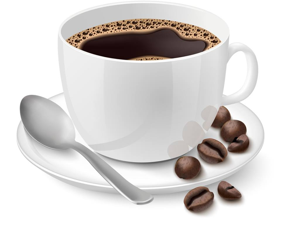 コーヒーカップに入ったコーヒーとコーヒー豆