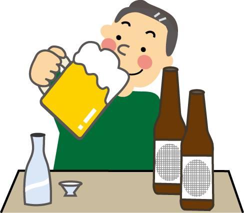 ビールや日本酒を飲む男性
