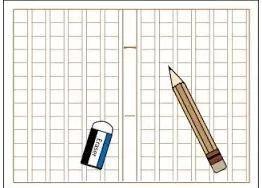 原稿用紙と鉛筆と消しゴム