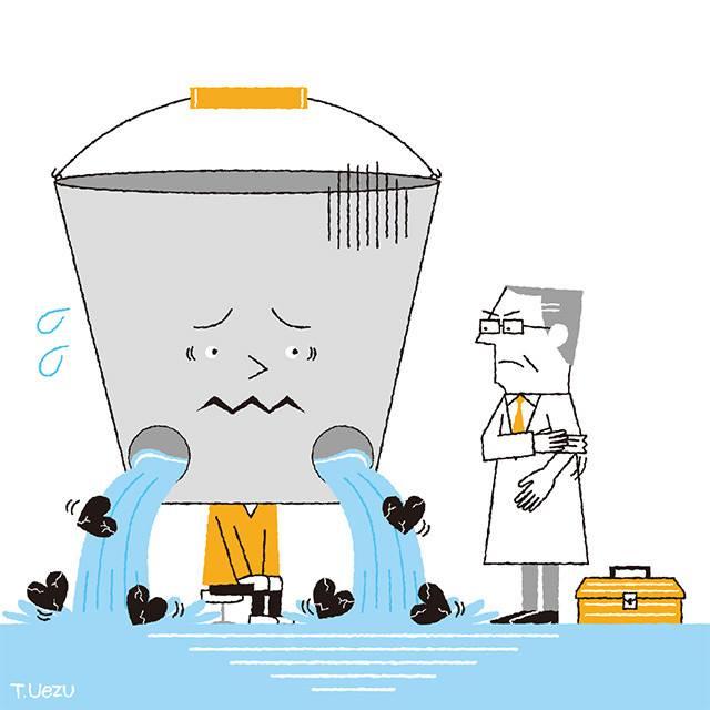 バケツから水が漏れるイラスト