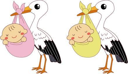赤ちゃんを運ぶコウノトリのイラスト