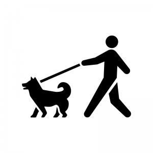 犬を散歩させている