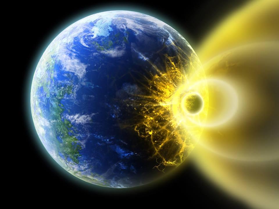地球に隕石が落ちるイラスト