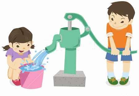 井戸で水を汲む子供
