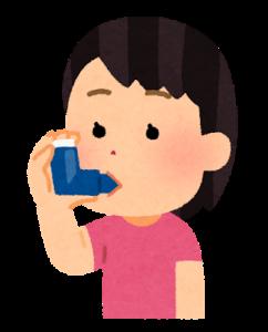 吸入器を使う女子のイラスト