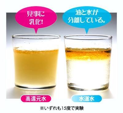 ゴマ油が乳化する電解アルカリイオン水