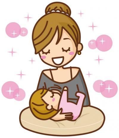 幸せな笑顔で授乳する女性と赤ちゃん