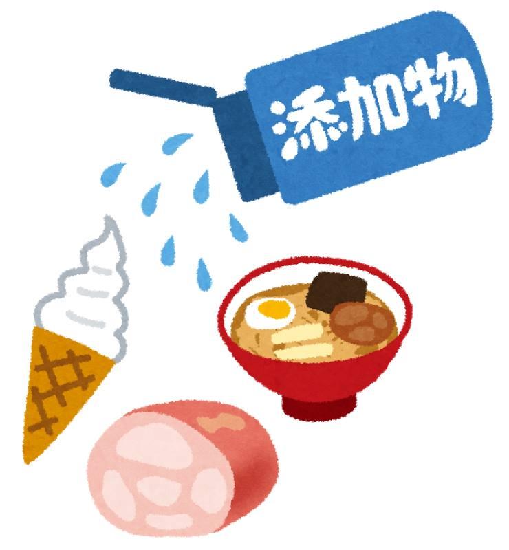 添加物が多く入る食品のイラスト