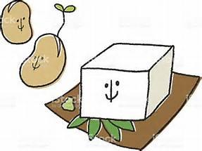 豆腐と原料の大豆のイラスト