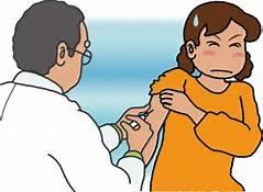 注射を痛がる女性