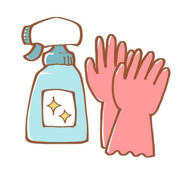 洗剤とゴム手袋のイラスト