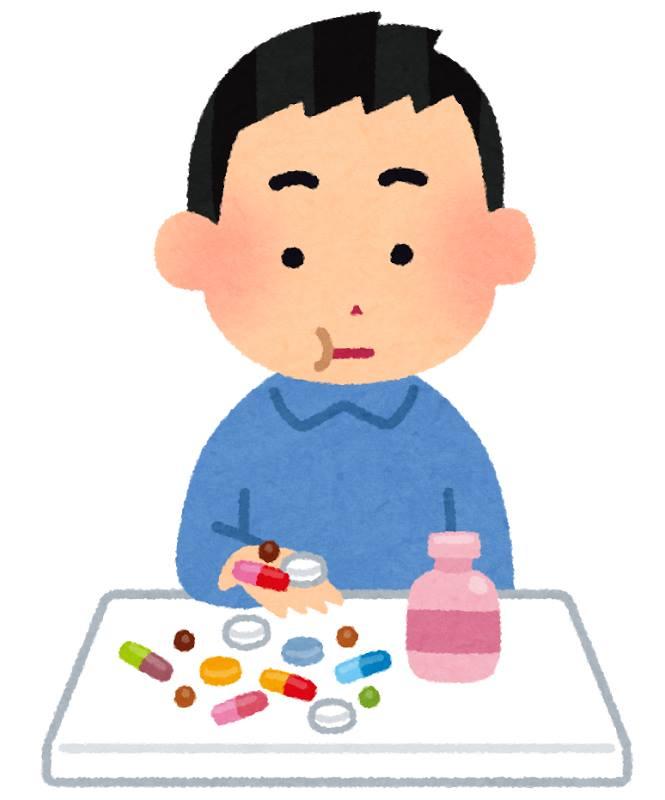 たくさんの薬を飲んでいる男性のイラスト