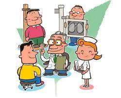 病院で身体検査をするイラスト