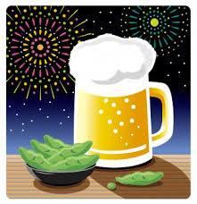 ビールと枝豆と花火