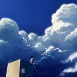 屋上で入道雲を見上げる学生