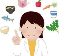 食材の絵に囲まれている栄養士の女性