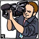 テレビカメラを肩に乗せて撮影するカメラマンのイラスト